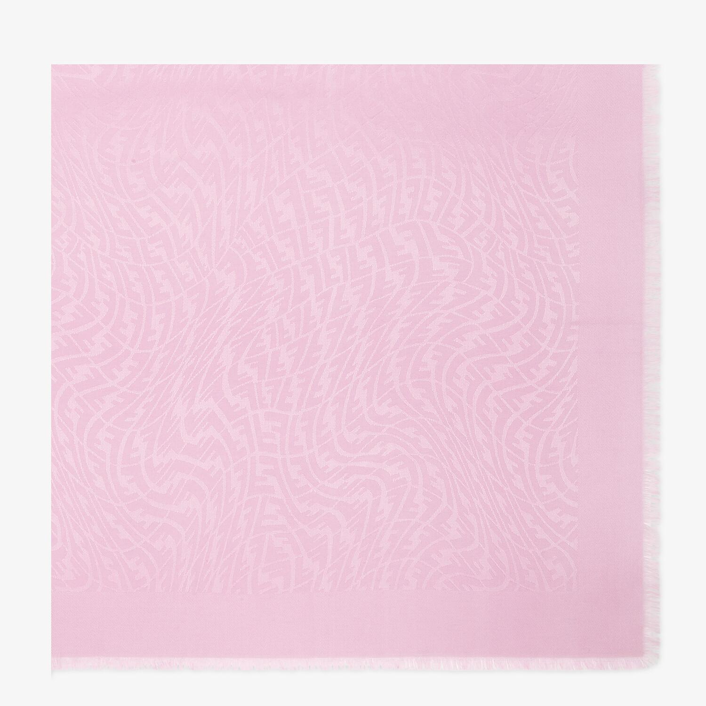 FENDI FF VERTIGO SHAWL - Pink silk and wool shawl - view 1 detail