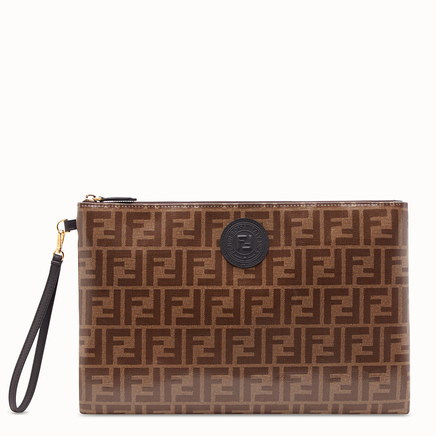 FENDI FLAT POUCH LARGE - Brown fabric pouch - view 1 detail