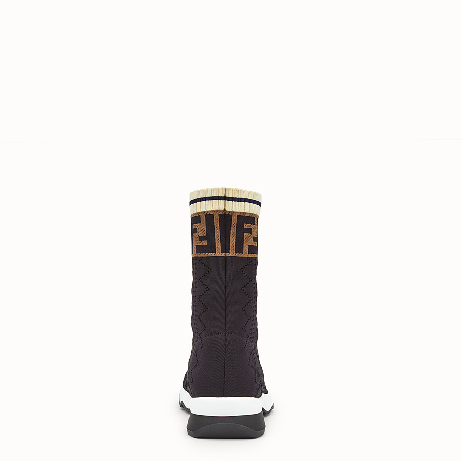 FENDI SNEAKERS - Black fabric sneaker boots - view 3 detail