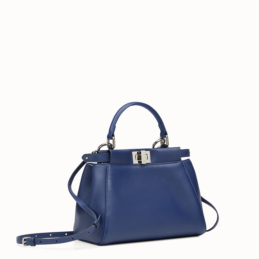 FENDI PEEKABOO MINI - blue nappa handbag - view 2 detail