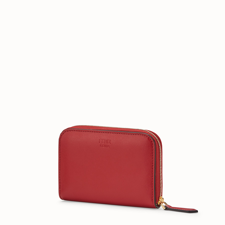 FENDI SMALL ZIP-AROUND - Red leather wallet - view 2 detail