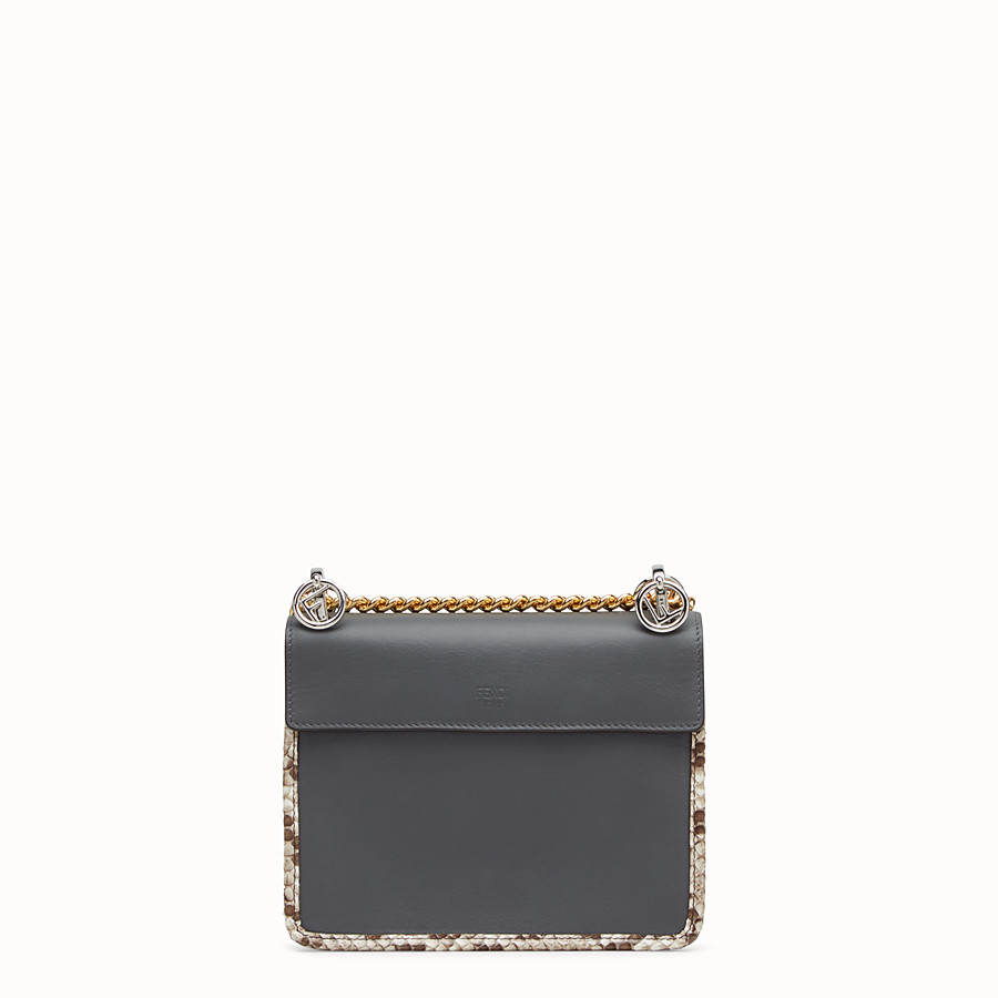 FENDI KAN I F SMALL - Grey leather mini-bag with exotic details - view 3 detail