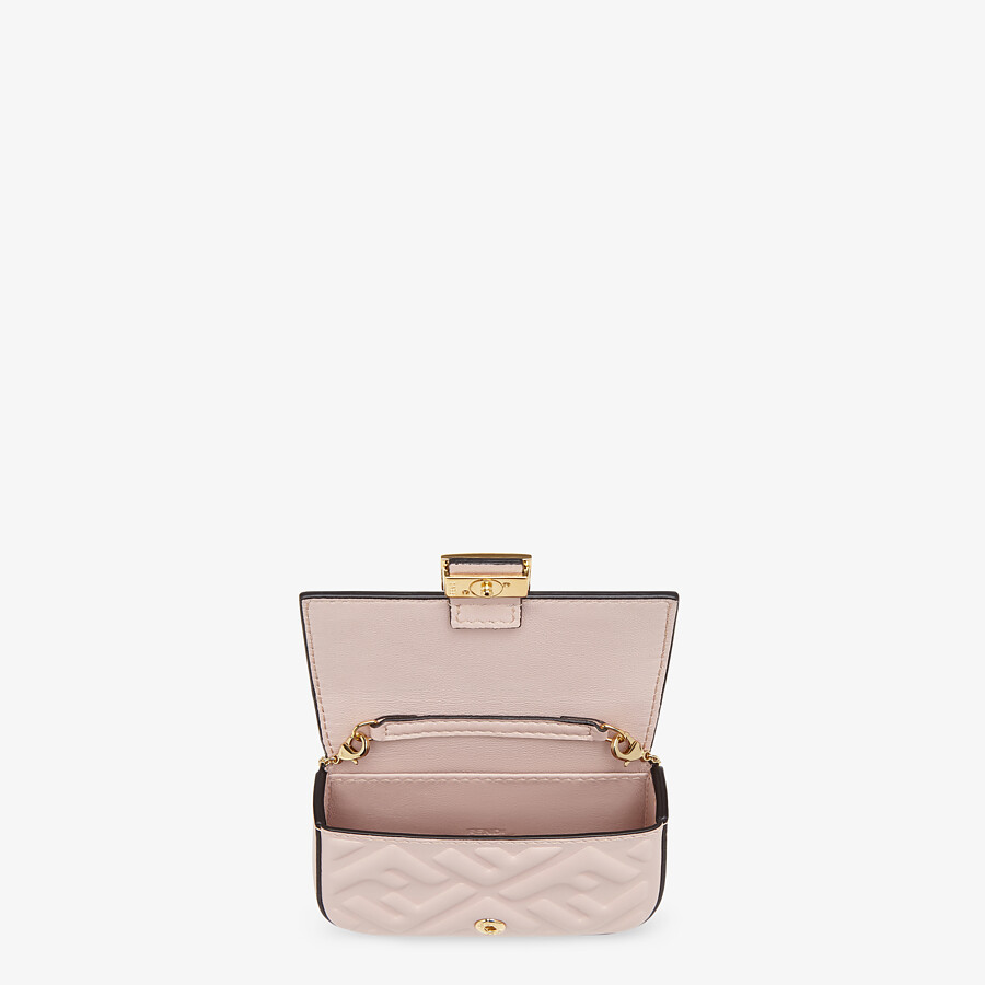 FENDI NANO BAGUETTE CHARM - Charm in pink nappa leather - view 4 detail