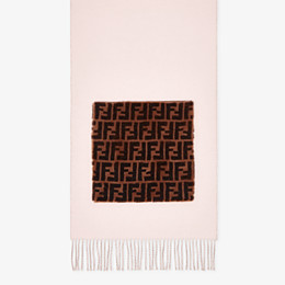 FENDI TOUCH OF FUR SCARF - Pink wool and cashmere scarf - view 1 thumbnail
