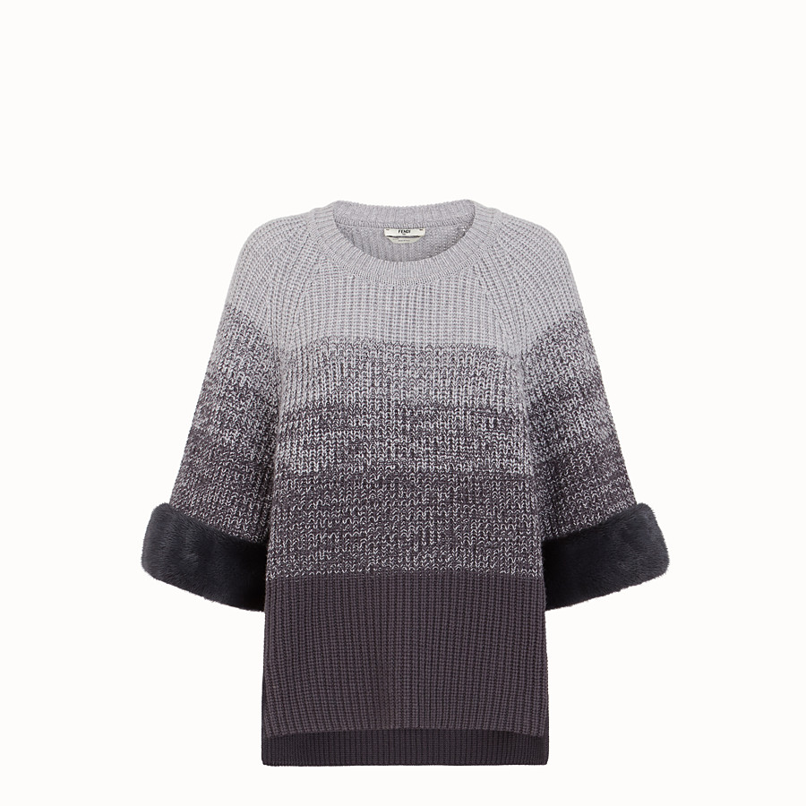 FENDI JUMPER - Grey wool sweater - view 1 detail