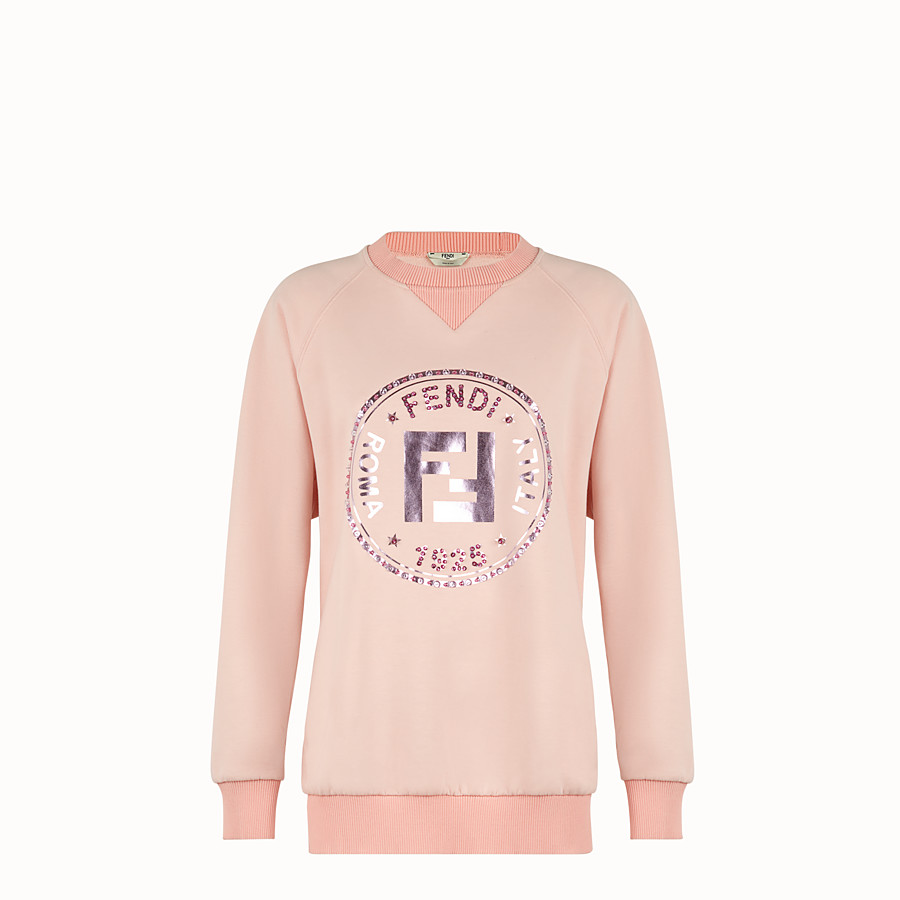 FENDI SWEATSHIRT - Pink cotton sweatshirt - view 1 detail