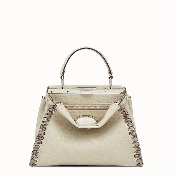 FENDI PEEKABOO REGULAR - White Selleria handbag with weave - view 1 small thumbnail