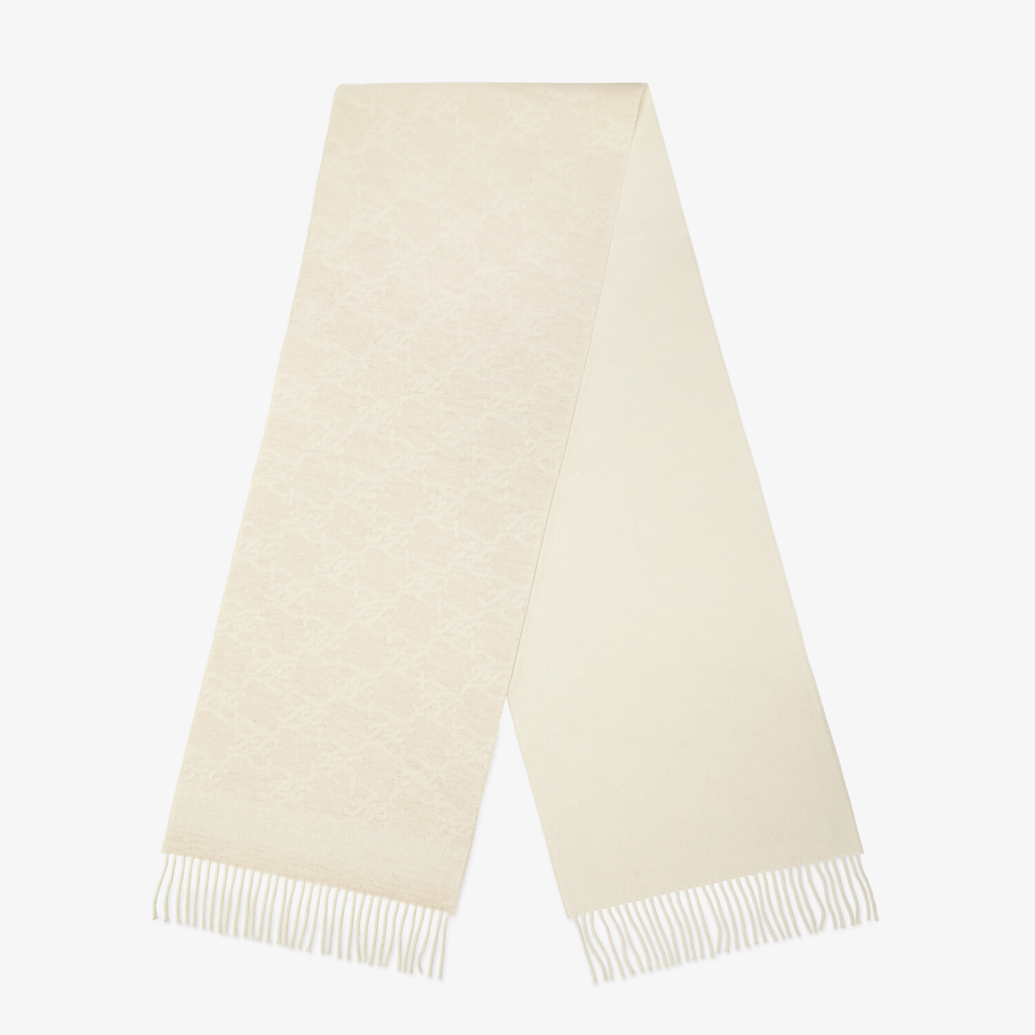 FENDI KARL SCARF - White wool and cashmere scarf - view 1 detail