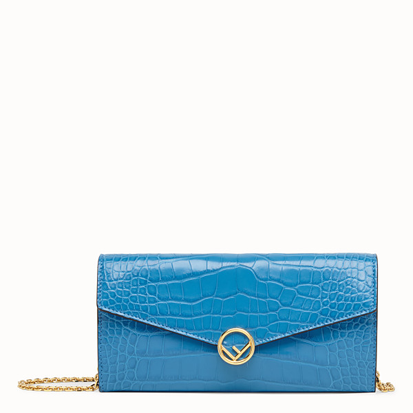 FENDI CONTINENTAL WITH CHAIN - Pale blue alligator wallet - view 1 small thumbnail