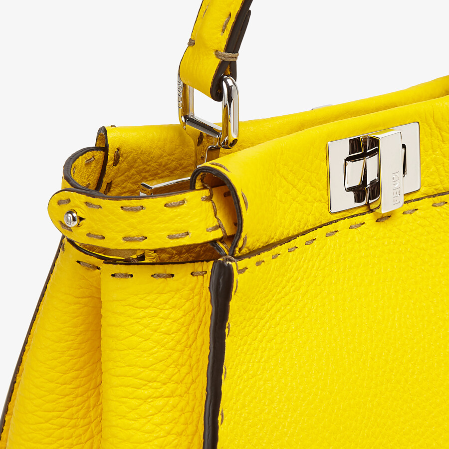 FENDI PEEKABOO ICONIC MINI - Yellow Cuoio Romano leather bag - view 5 detail