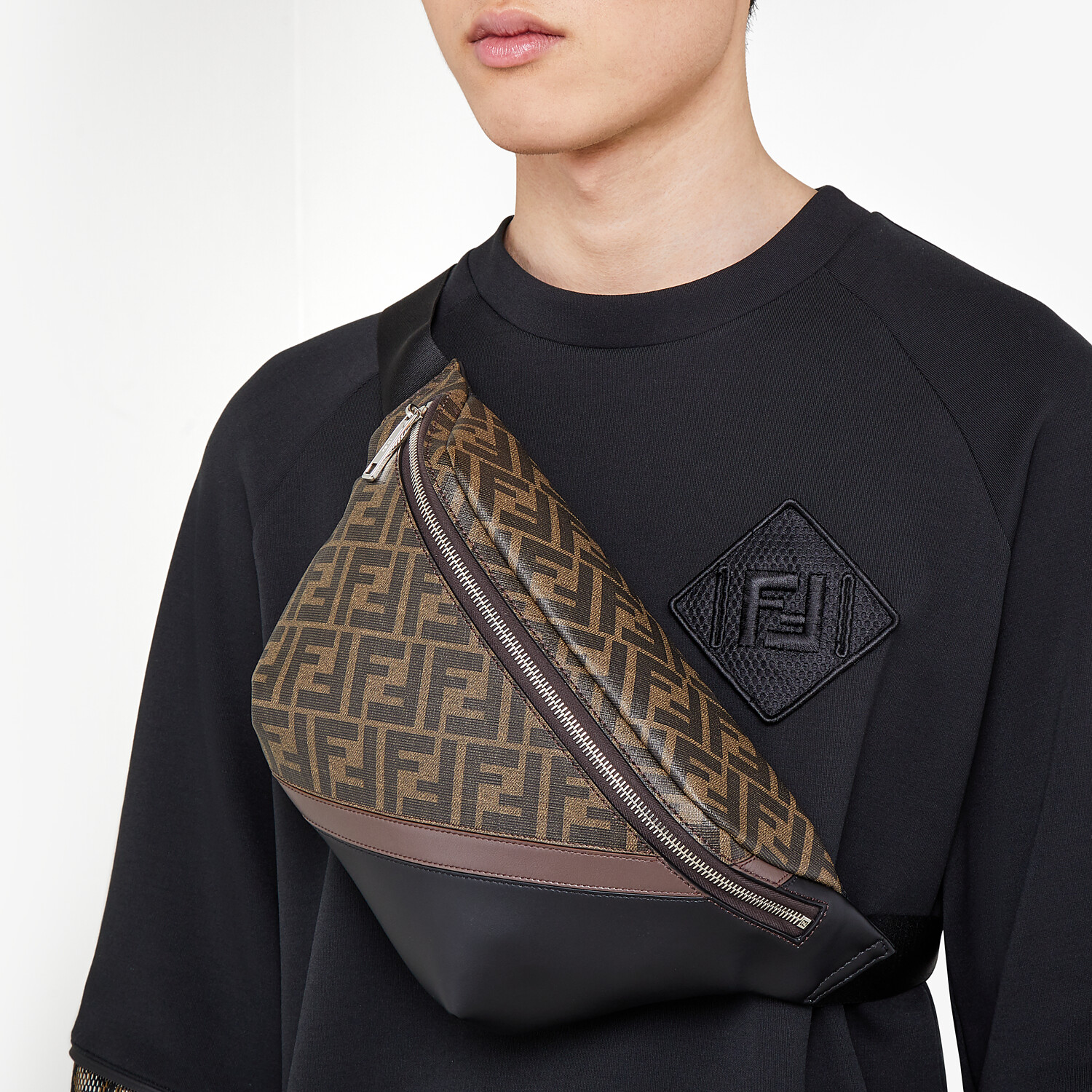 FENDI BELT BAG - Brown fabric belt bag - view 6 detail