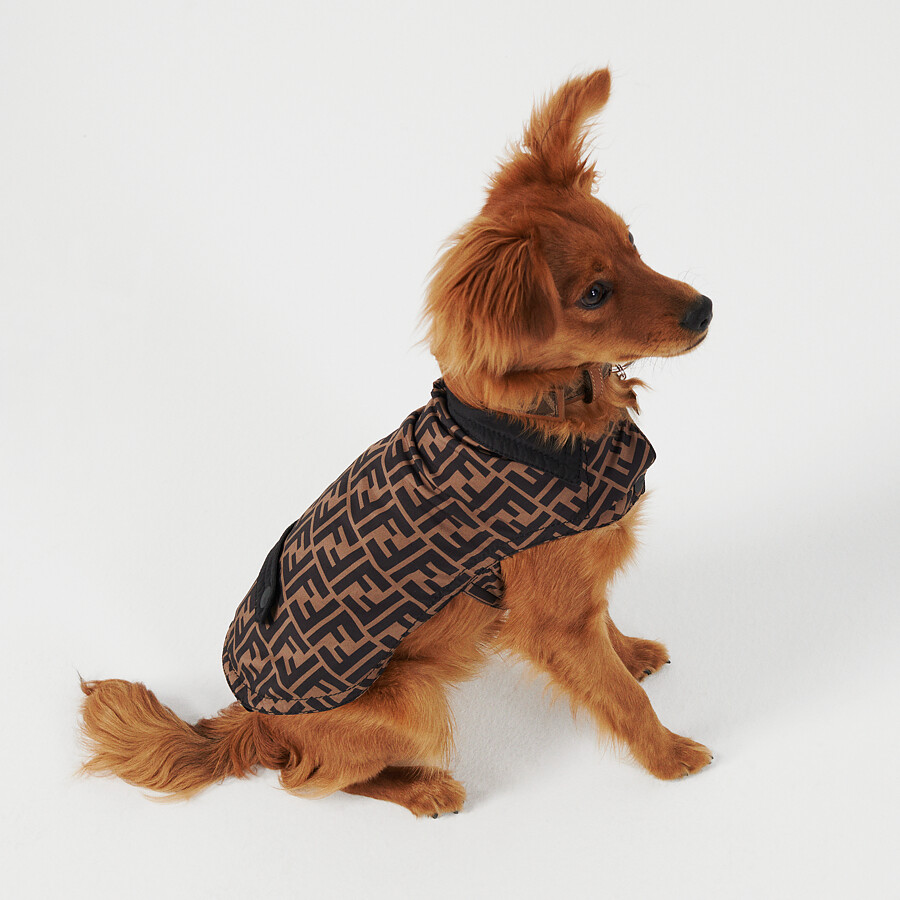 FENDI DOG COAT - Dog coat in brown FF nylon - view 4 detail