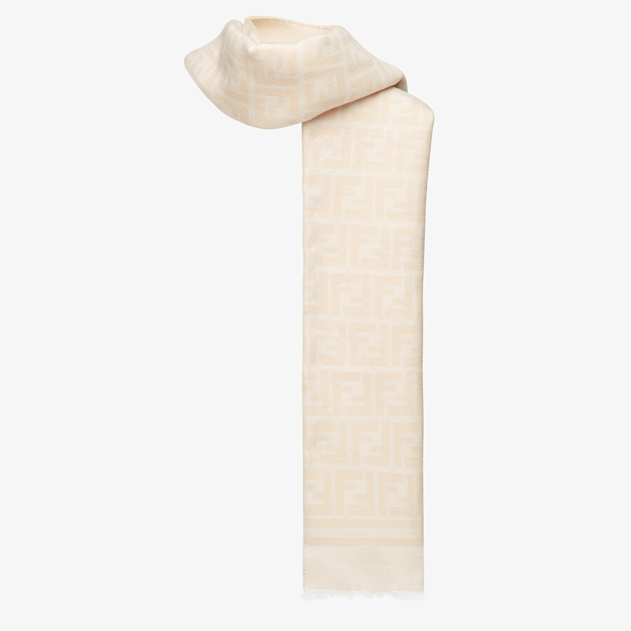 FENDI SCARF - Beige wool and silk scarf - view 2 detail