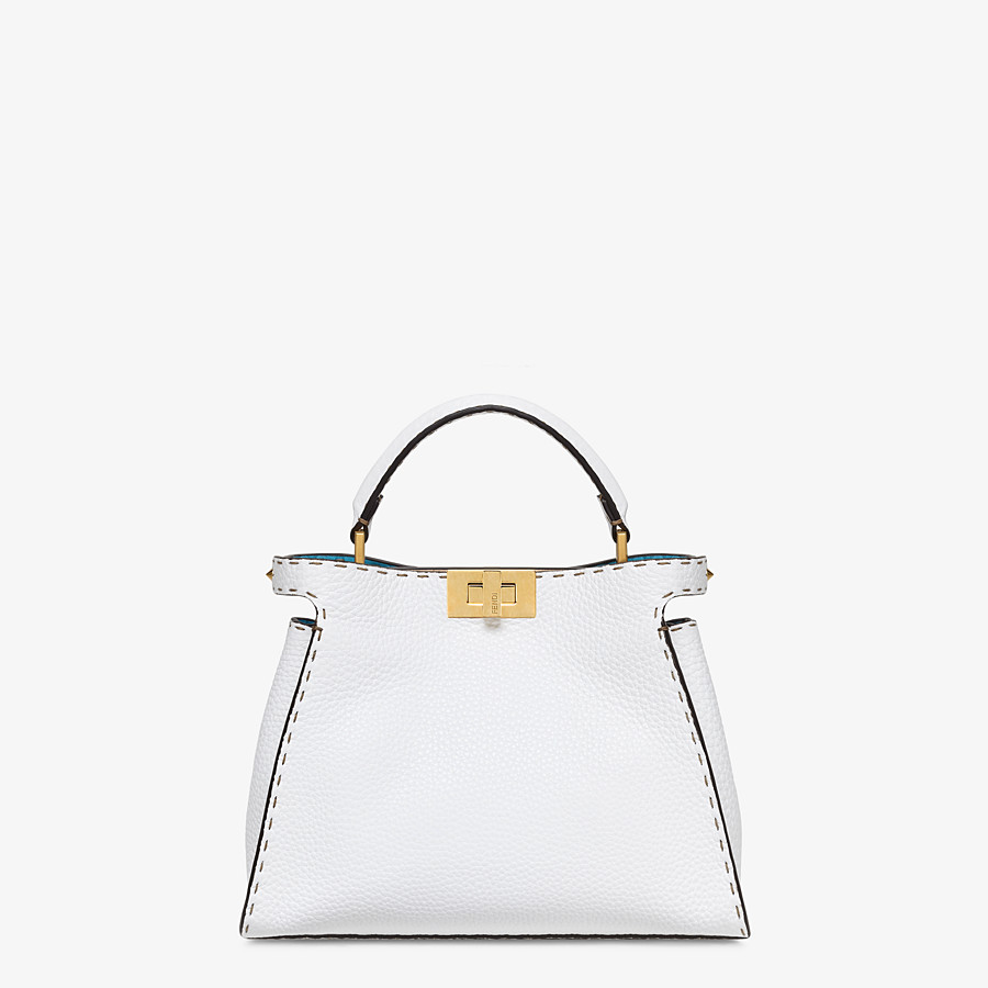 FENDI PEEKABOO ICONIC ESSENTIALLY - White Cuoio Romano leather bag - view 1 detail