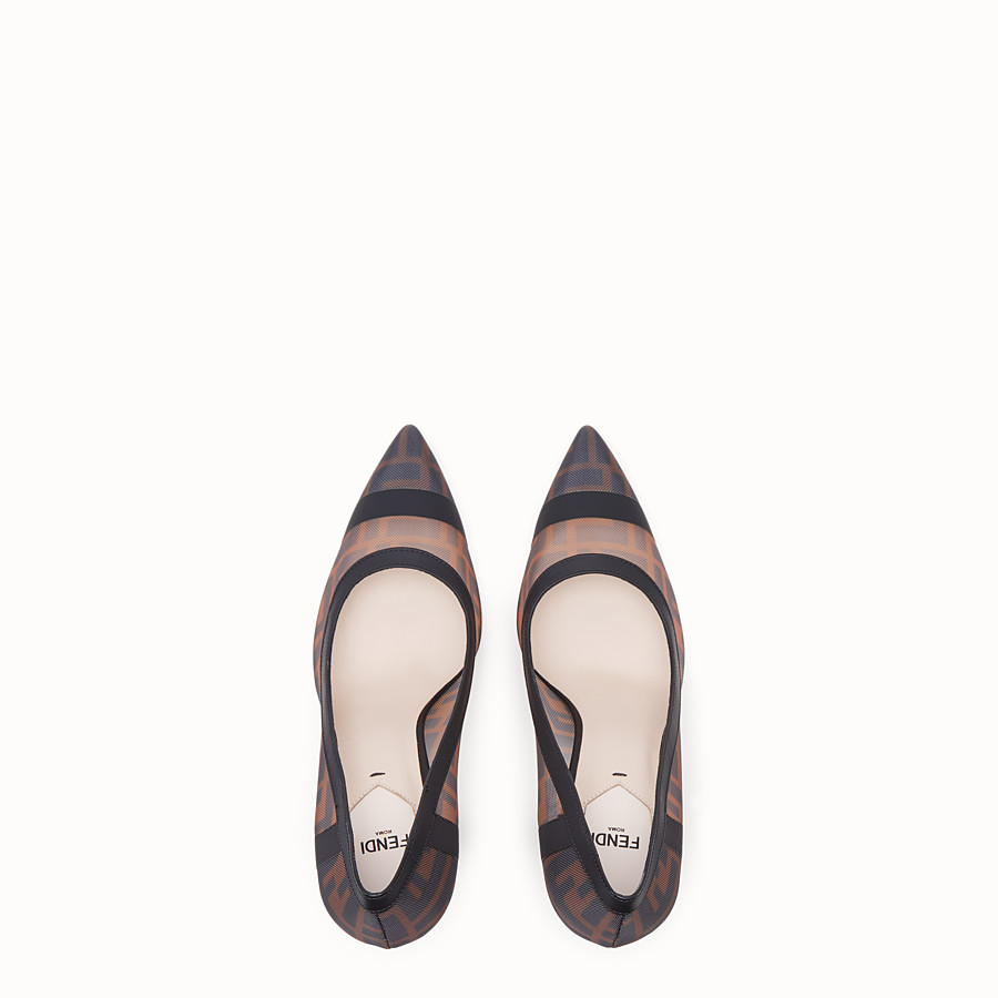 FENDI COURT SHOES - Mesh and black leather court shoes - view 4 detail