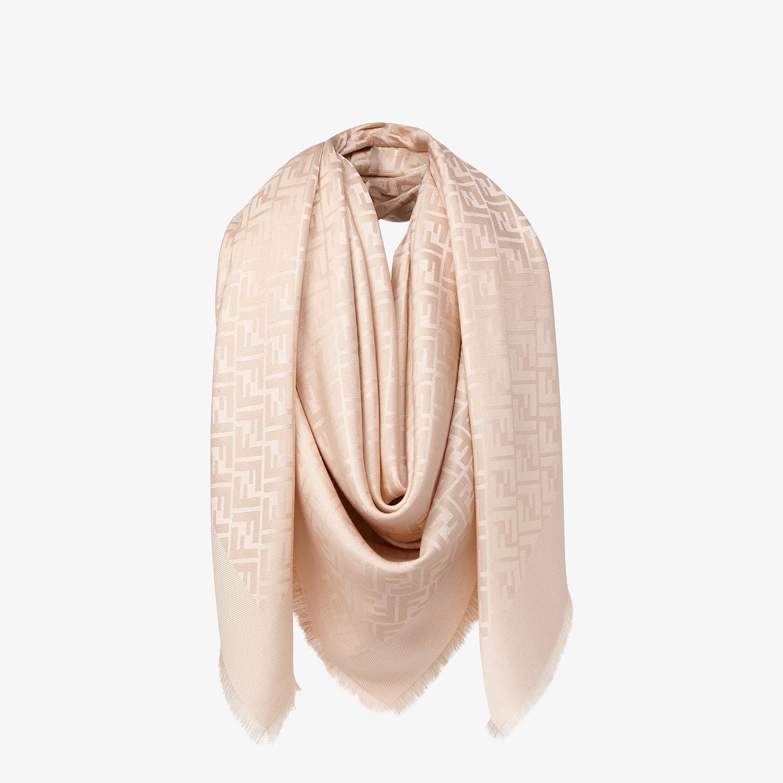 FENDI FF SHAWL - Pink silk, viscose and wool shawl - view 2 detail