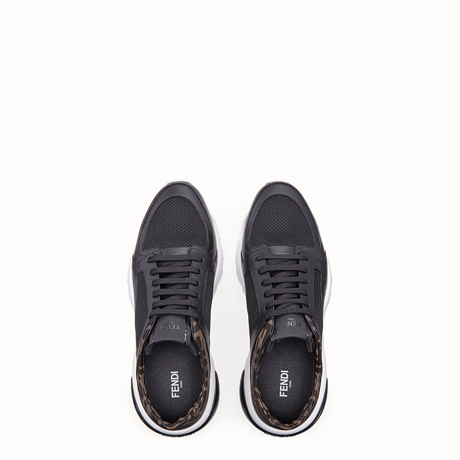 FENDI SNEAKERS - Black tech mesh and leather low-tops - view 4 detail