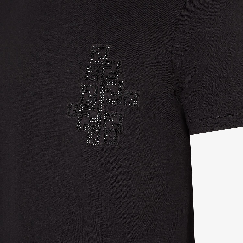 FENDI T-SHIRT - Black cotton T-shirt - view 3 detail