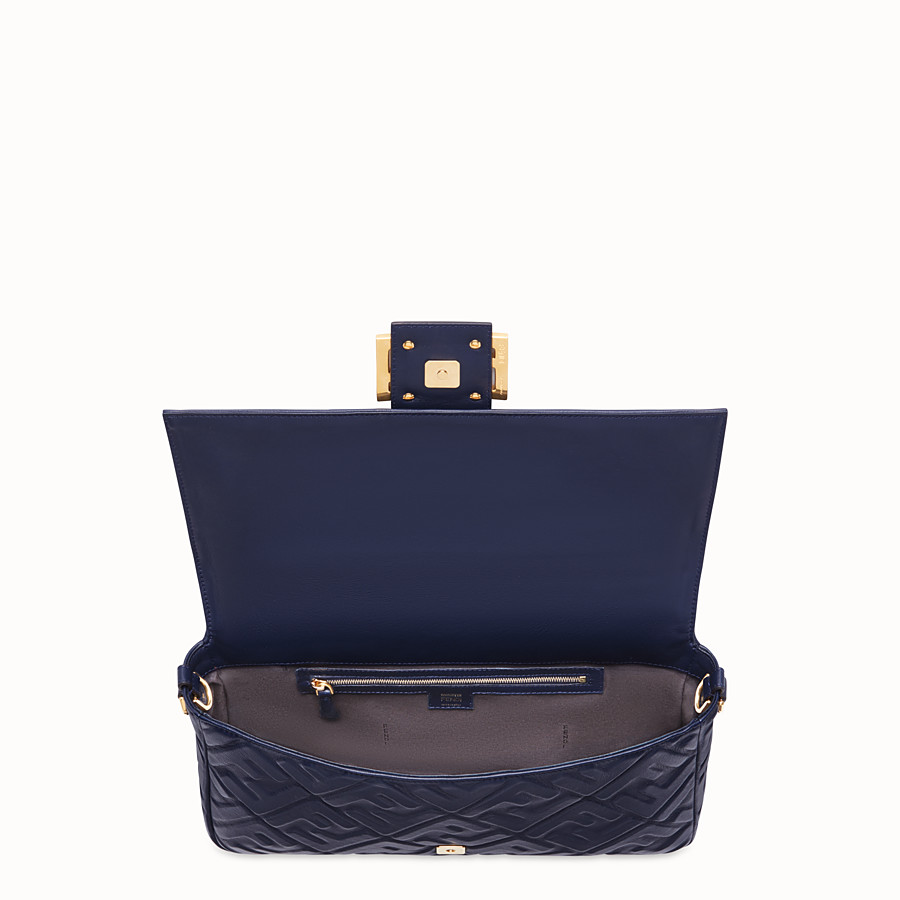 FENDI BAGUETTE LARGE - Blue nappa leather bag - view 5 detail