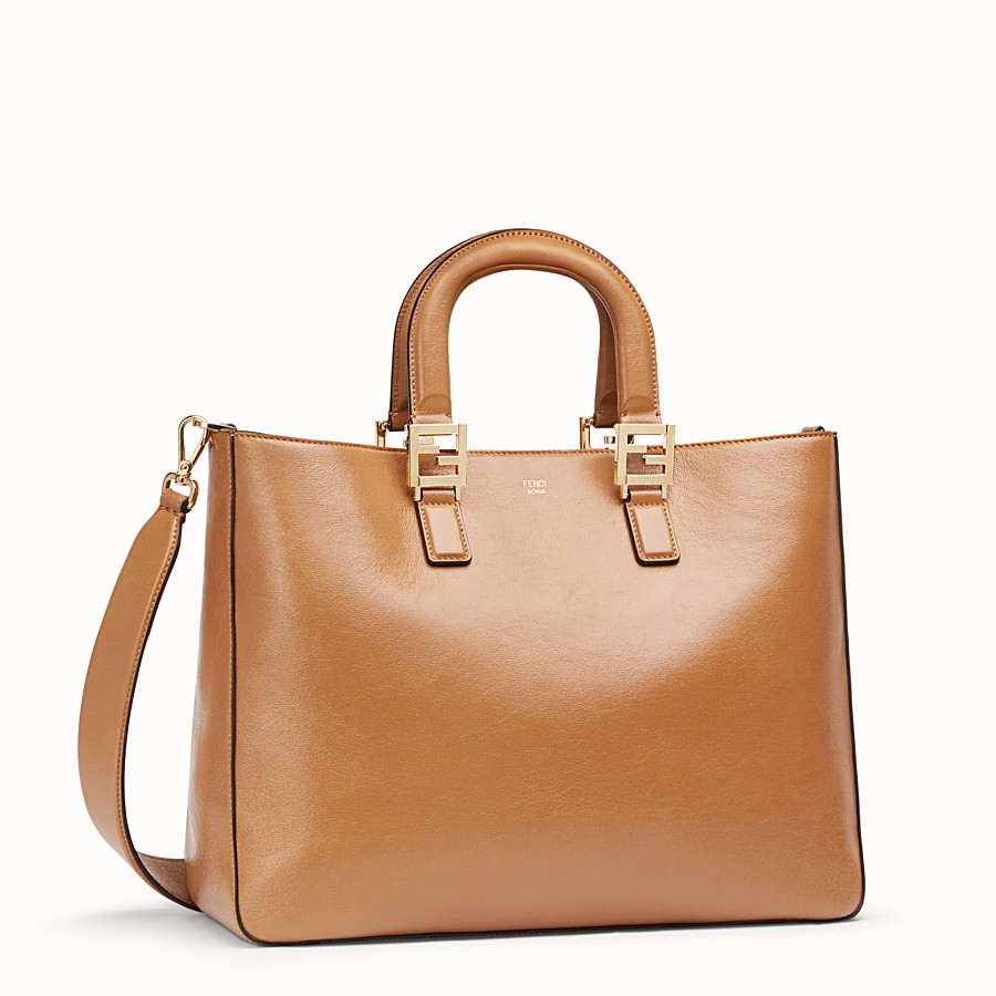 FENDI FF TOTE MEDIUM - Brown leather bag - view 2 detail