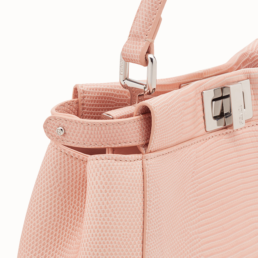 FENDI PEEKABOO MINI - Pink lizard leather bag - view 5 detail