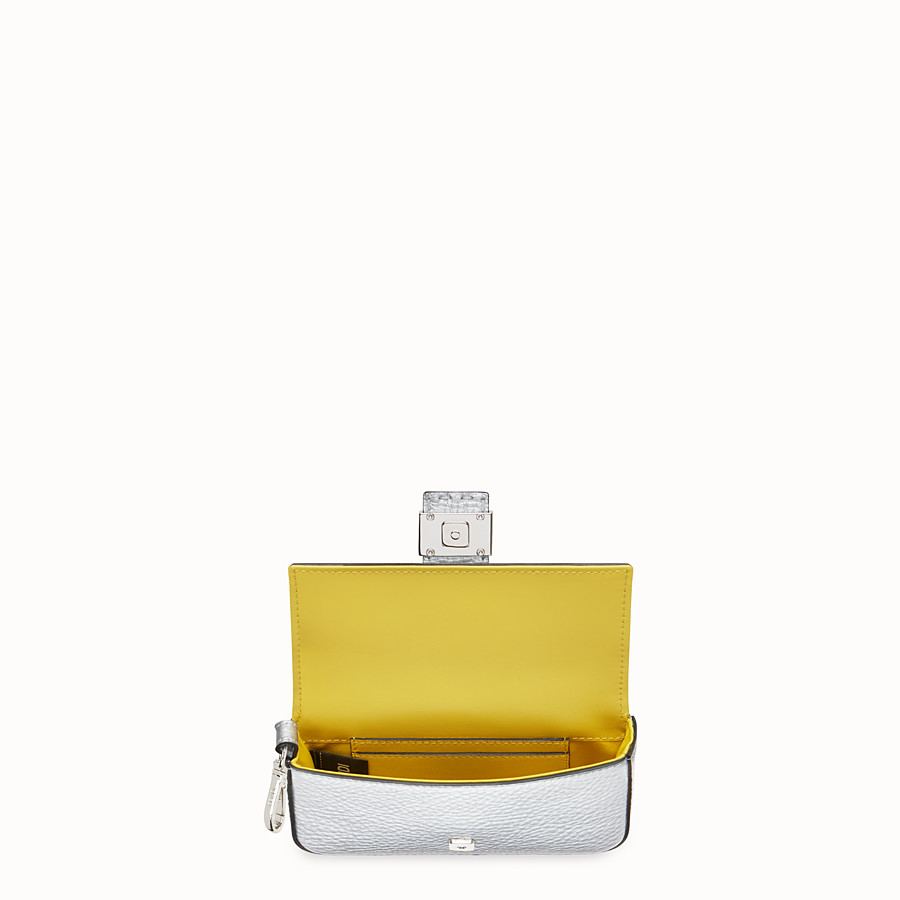 FENDI MICRO BAGUETTE - Silver leather micro-bag - view 3 detail