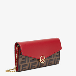 FENDI CONTINENTAL WITH CHAIN - Red leather wallet - view 2 thumbnail
