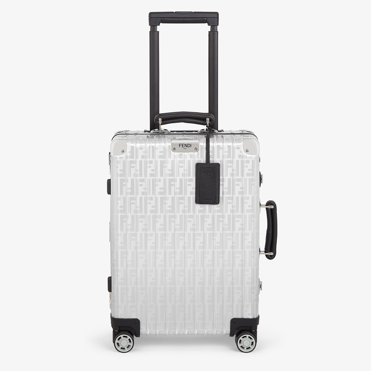 FENDI CABIN SIZE TROLLEY - Aluminum trolley case with leather details - view 1 detail