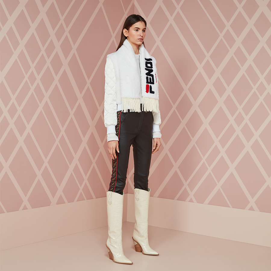 FENDI TROUSERS - Black leather trousers - view 4 detail