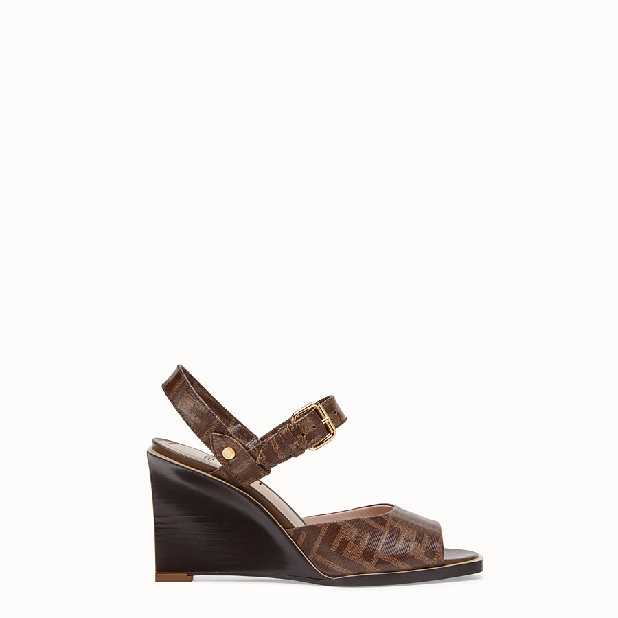 FENDI SANDALS - Brown fabric sandals - view 1 detail