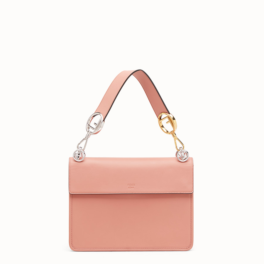 FENDI KAN I LOGO - Sac en cuir rose - view 3 detail