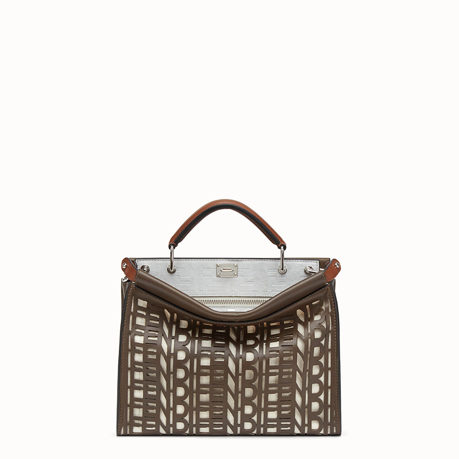 FENDI PEEKABOO ICONIC FIT MINI - Brown leather bag - view 1 detail