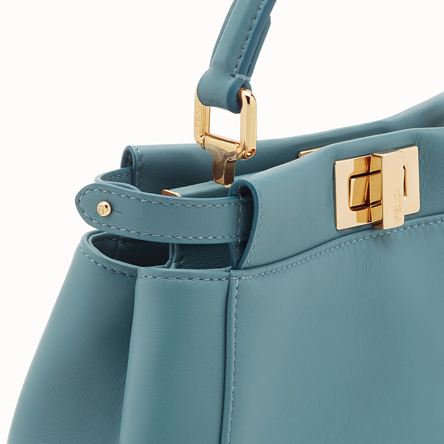FENDI PEEKABOO MINI - Light blue leather bag - view 5 detail