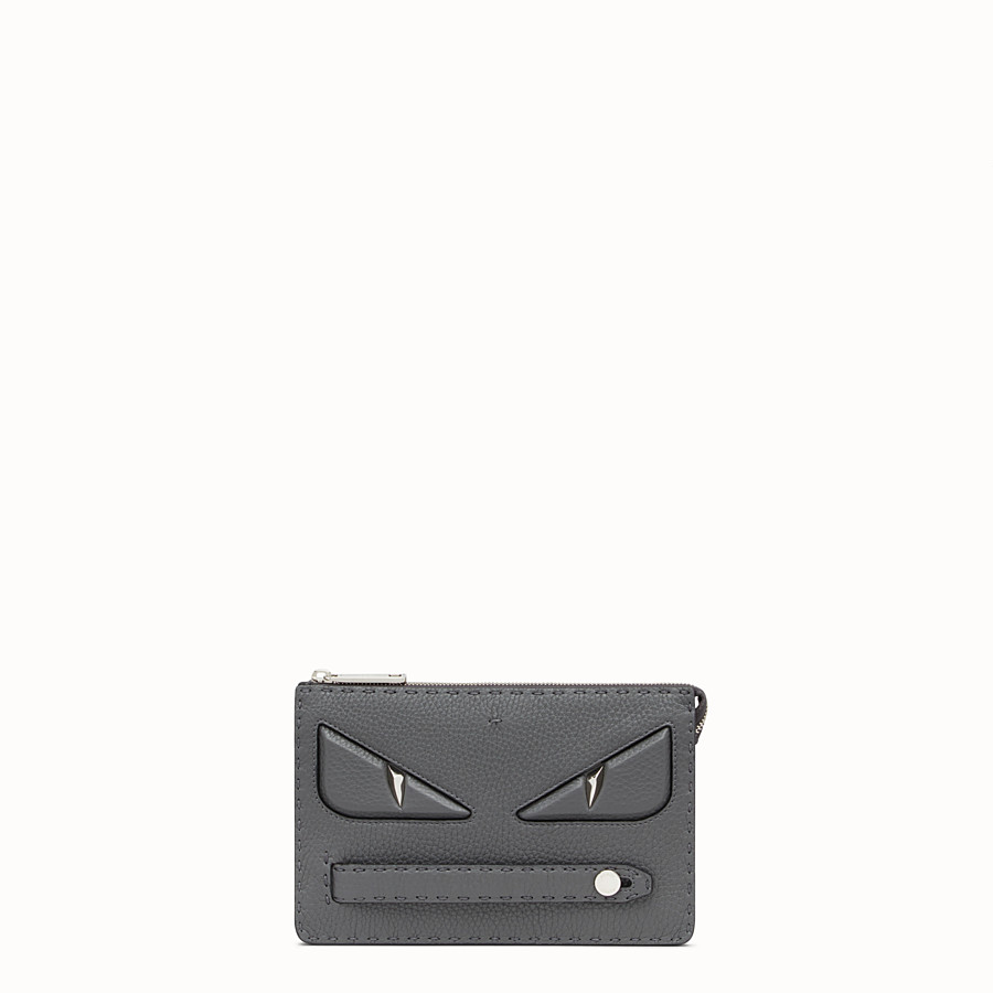 FENDI CLUTCH - Grey leather pouch - view 1 detail