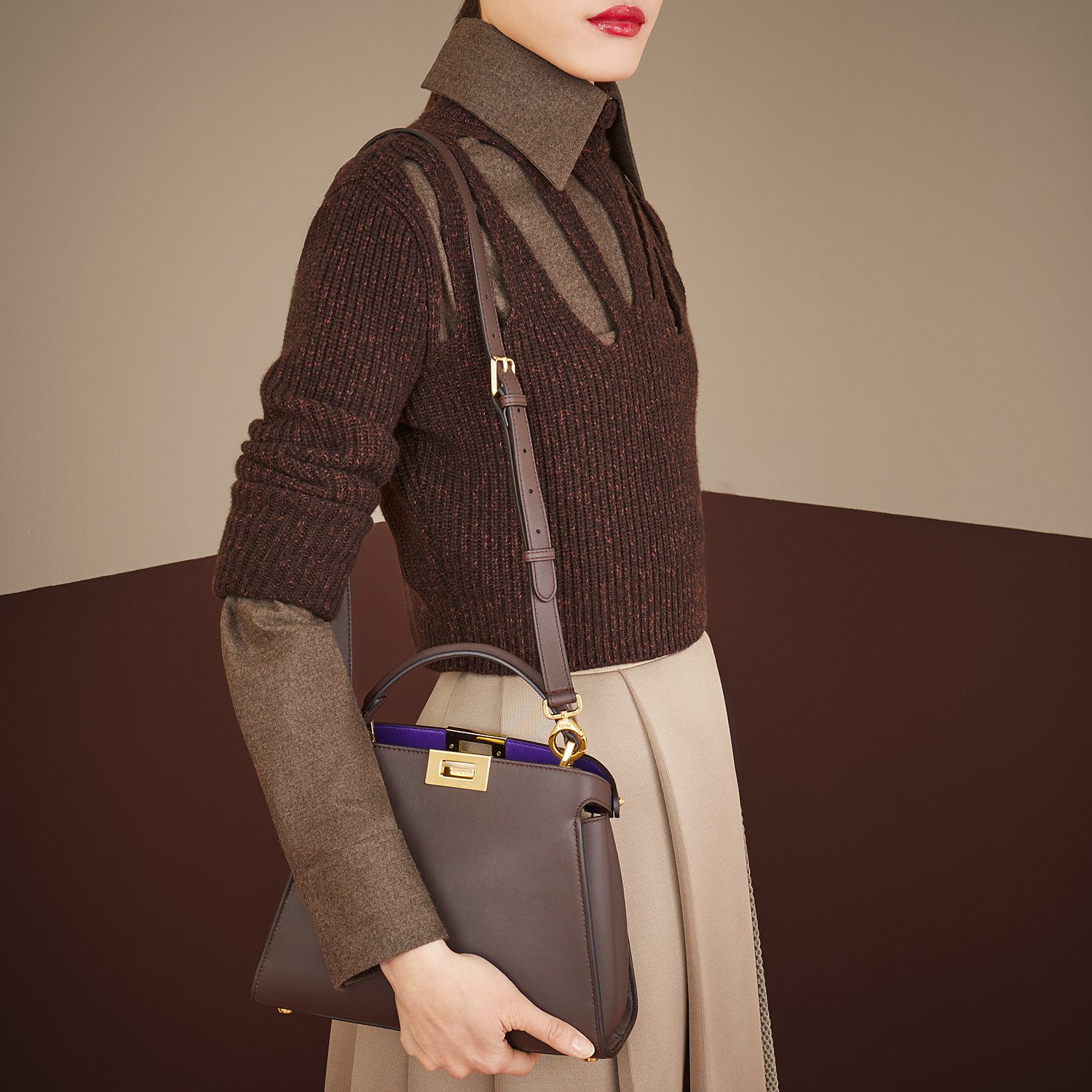 FENDI PEEKABOO ICONIC ESSENTIALLY - Brown leather bag - view 2 detail