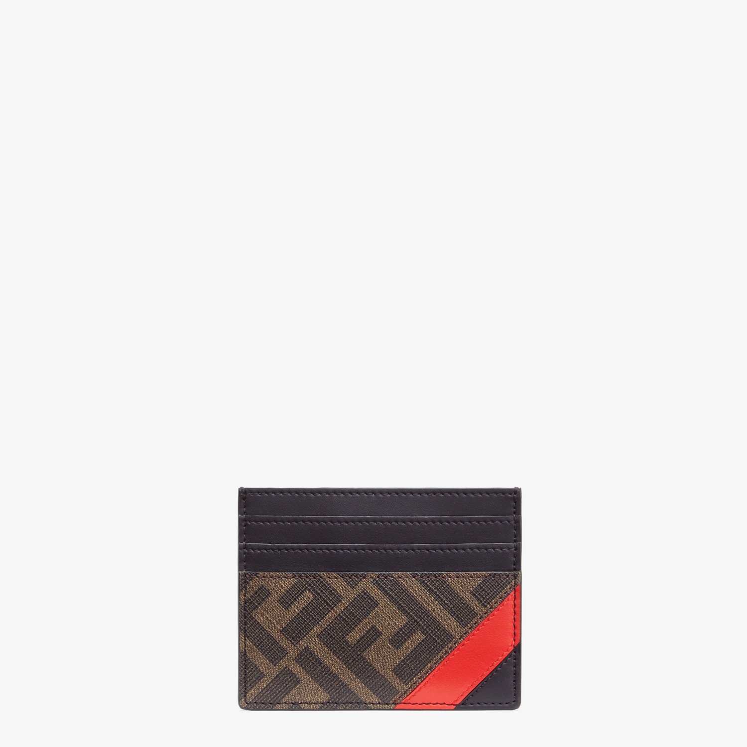 FENDI CARD HOLDER - Brown fabric card holder - view 1 detail