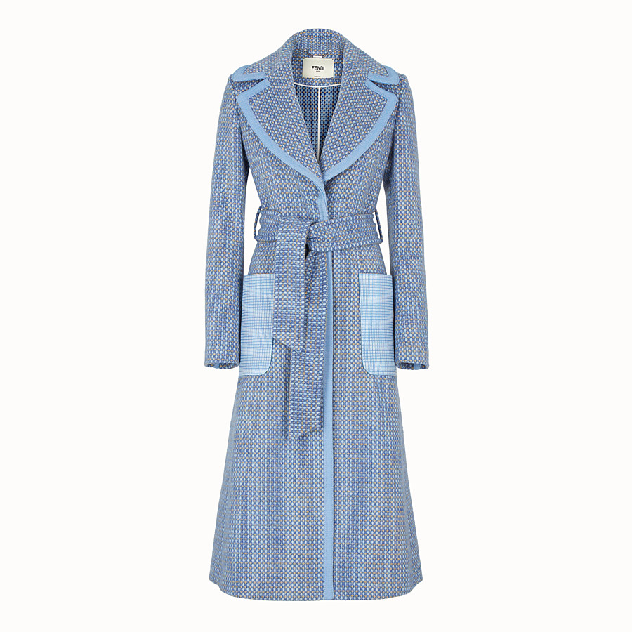 FENDI OVERCOAT - Pale blue wool trench coat - view 1 detail