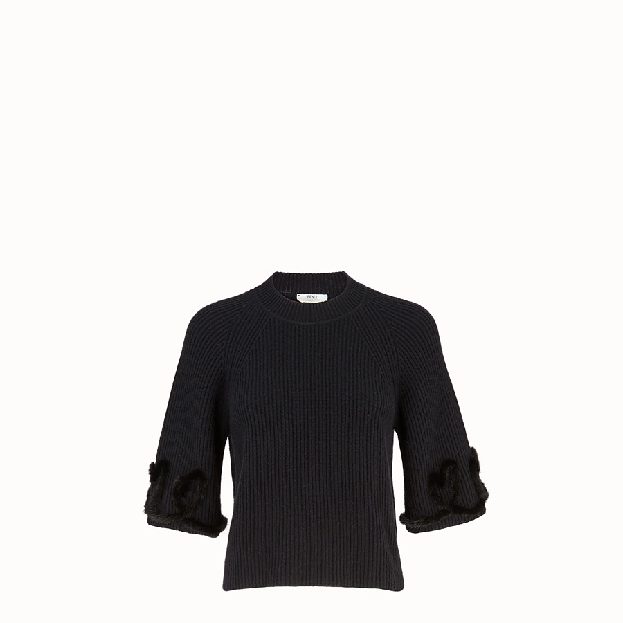 FENDI PULLOVER - Black wool and cashmere jumper - view 1 detail