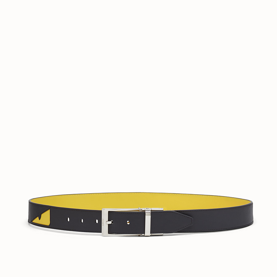 FENDI BELT - Black and yellow leather belt - view 1 detail
