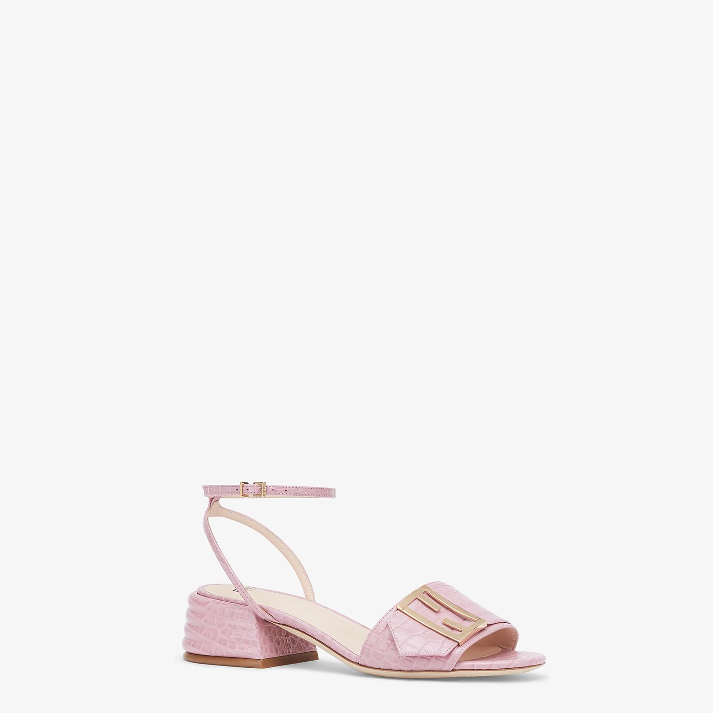 FENDI SANDALS - Pink leather Promenade Sandals - view 2 detail