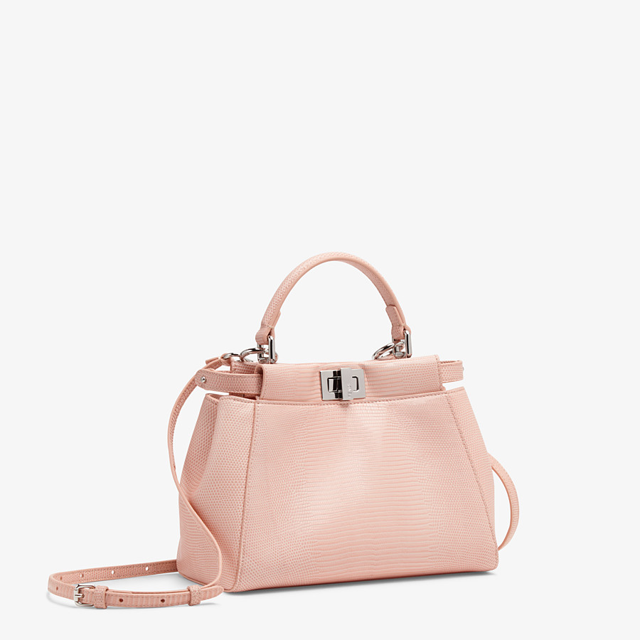FENDI PEEKABOO ICONIC MINI - Pink lizard leather bag - view 2 detail