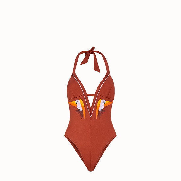 FENDI ONE-PIECE SWIMSUIT - Brown lycra swimsuit - view 1 small thumbnail