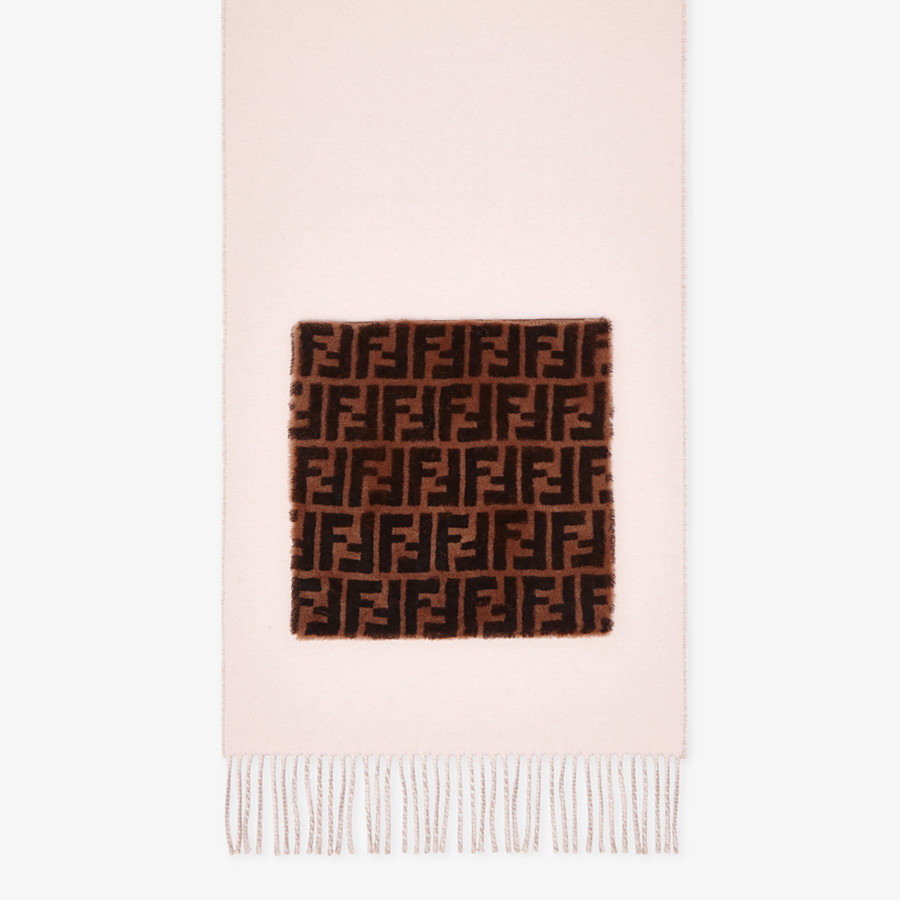 FENDI TOUCH OF FUR SCARF - Pink wool and cashmere scarf - view 1 detail
