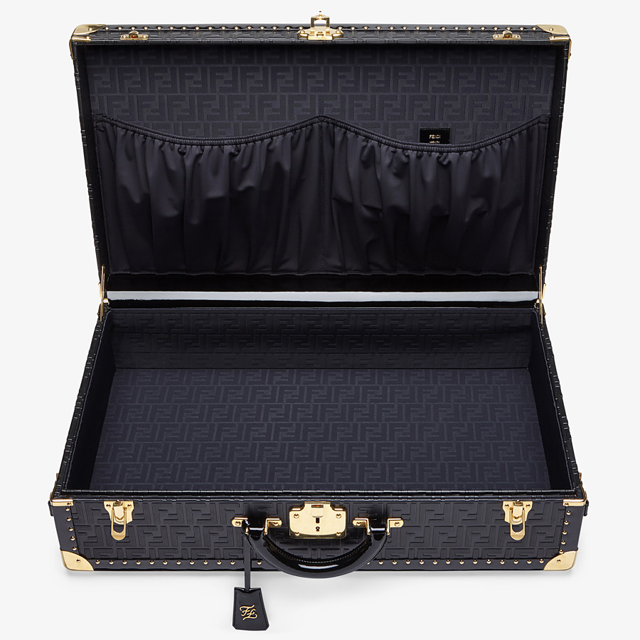 FENDI RIGID SUITCASE LARGE - Black leather suitcase - view 4 detail