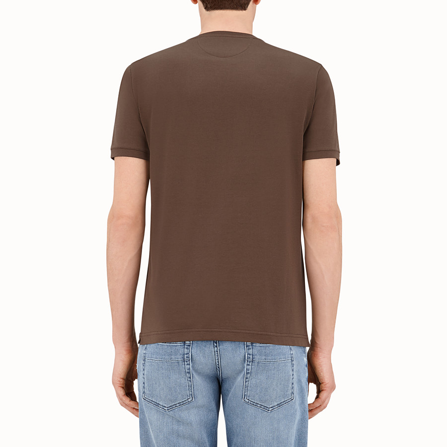 FENDI T-SHIRT - Brown cotton T-shirt - view 2 detail
