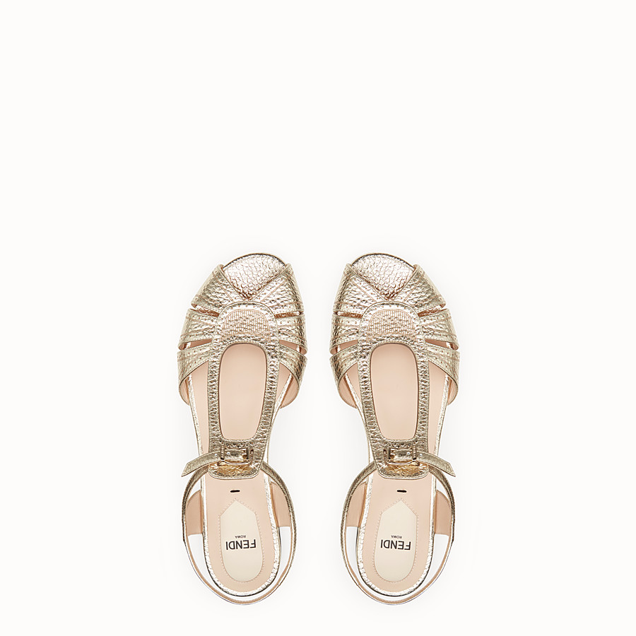 FENDI SANDALS - Golden leather flats - view 4 detail