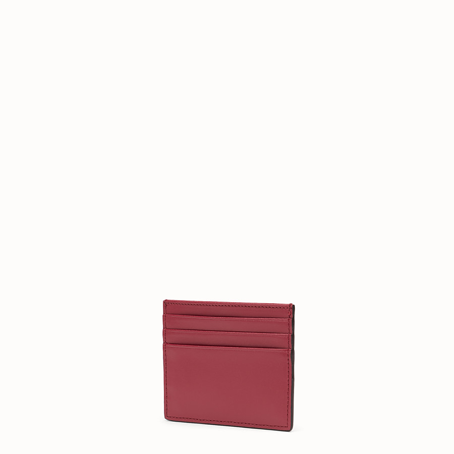 FENDI CARD HOLDER - Flat red leather card holder - view 2 detail