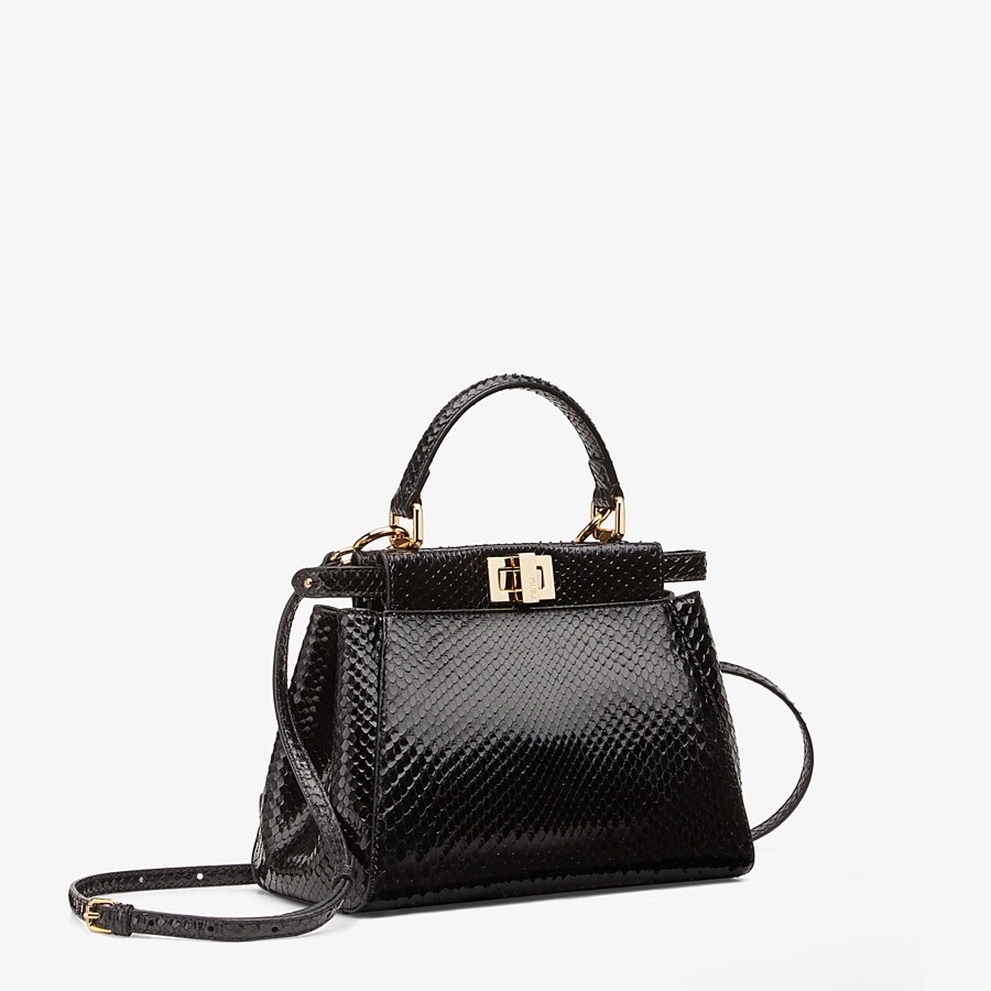 FENDI PEEKABOO ICONIC MINI - Black python handbag. - view 2 detail