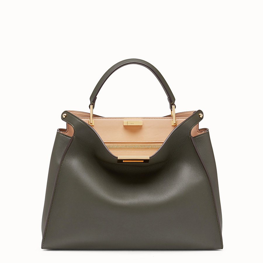 FENDI PEEKABOO ESSENTIAL - Gray-green leather handbag - view 1 detail
