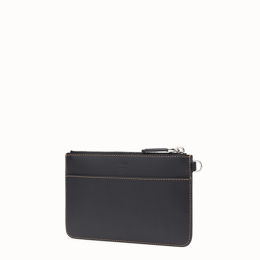 FENDI POUCH - Black leather slim pouch - view 2 detail